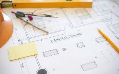 Drafting tools on blueprint